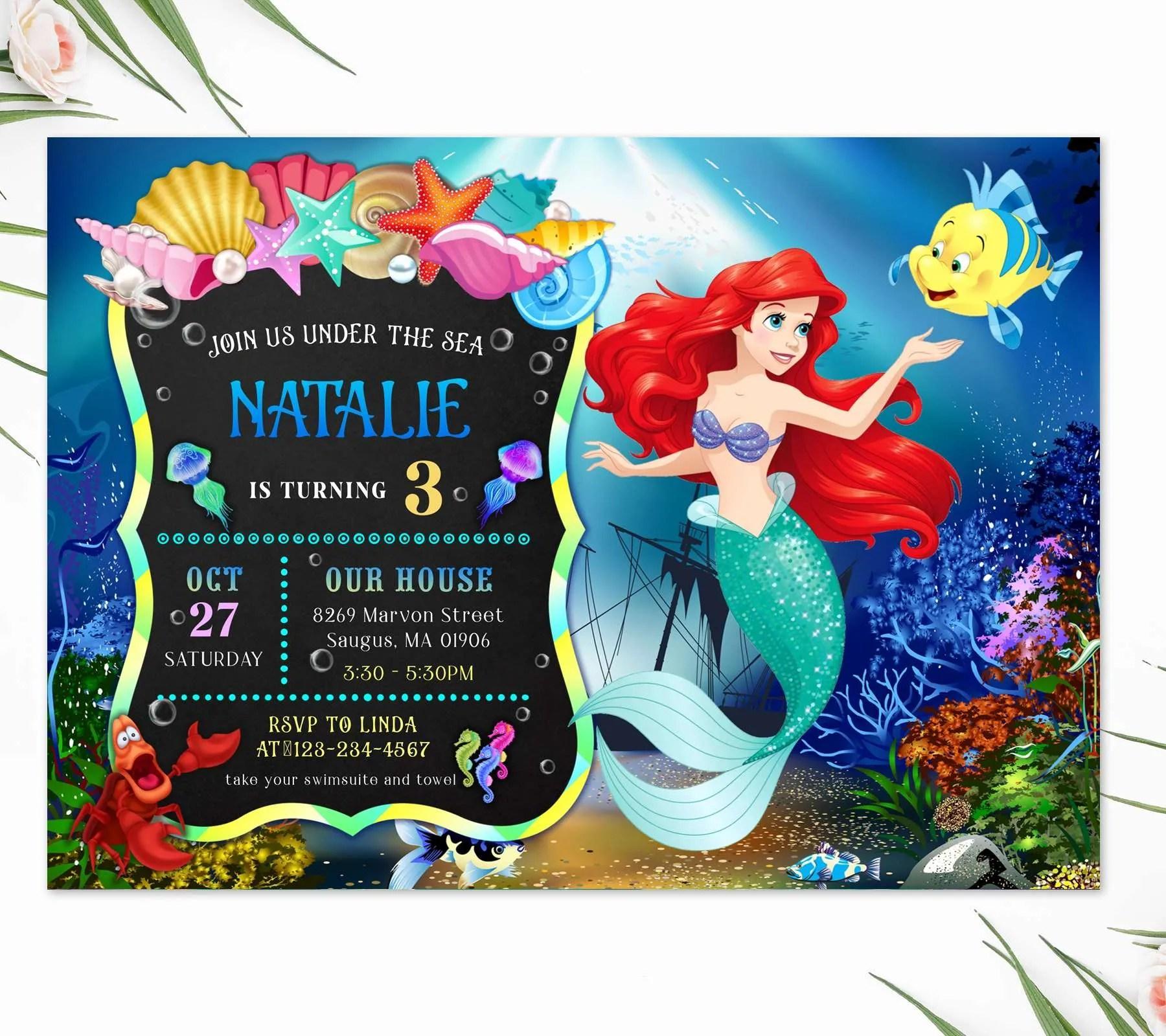little mermaid birthday party invitation editable template