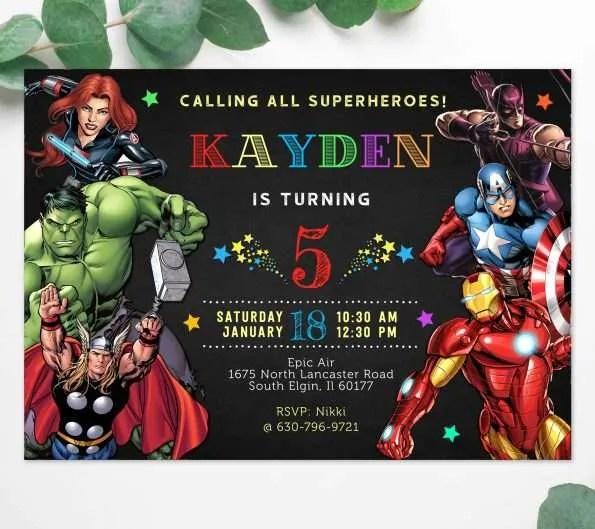 marvel avengers birthday invitation