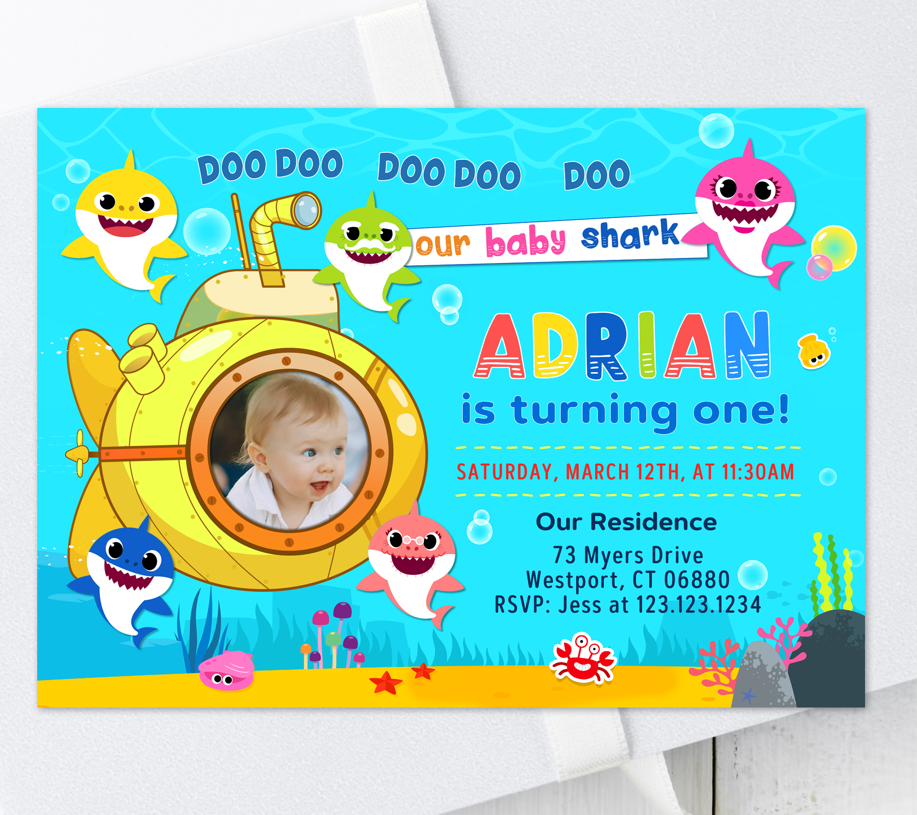 baby shark birthday invitation with photo