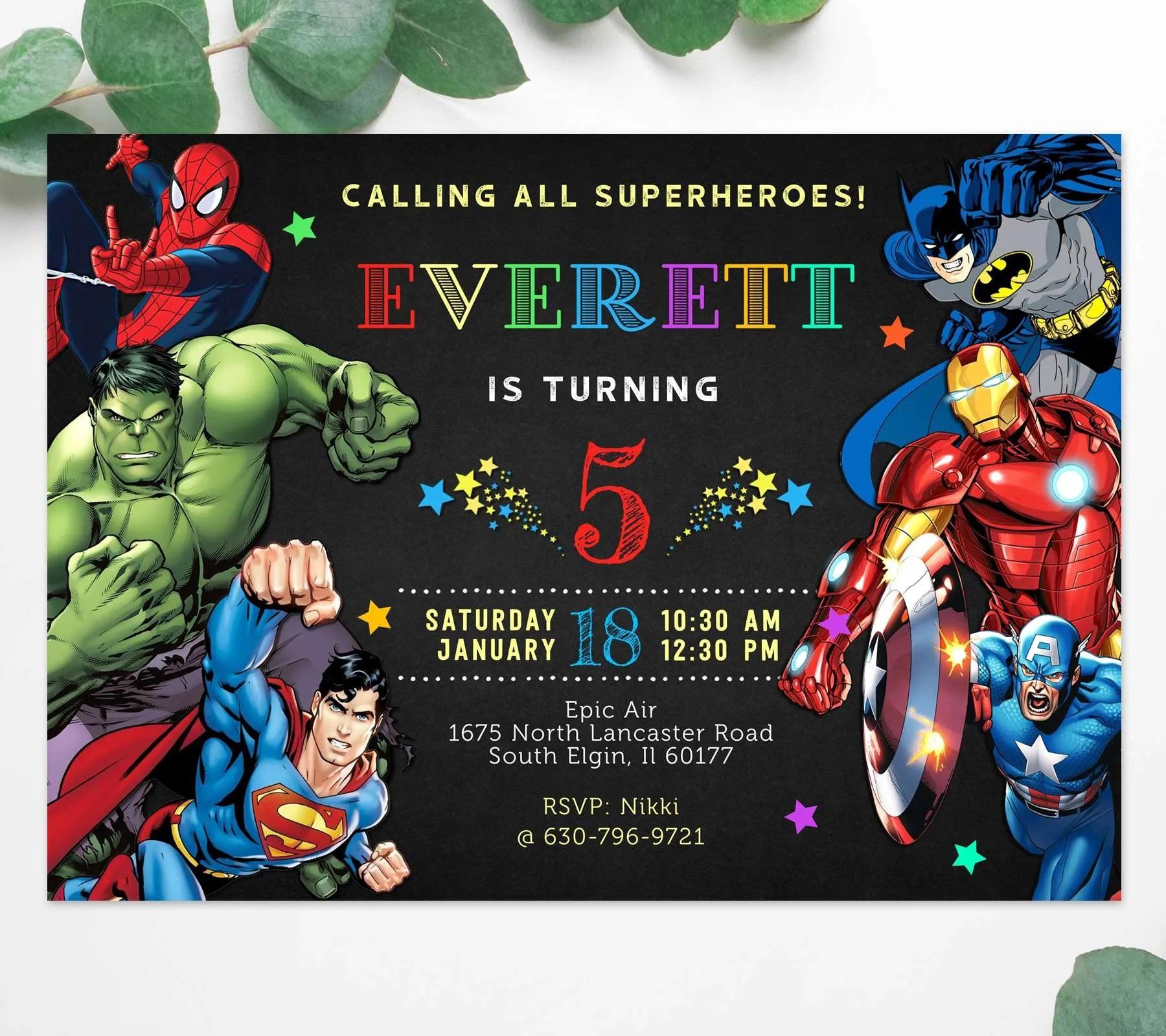 https perfectpartyprints com product birthday invitation card superhero theme