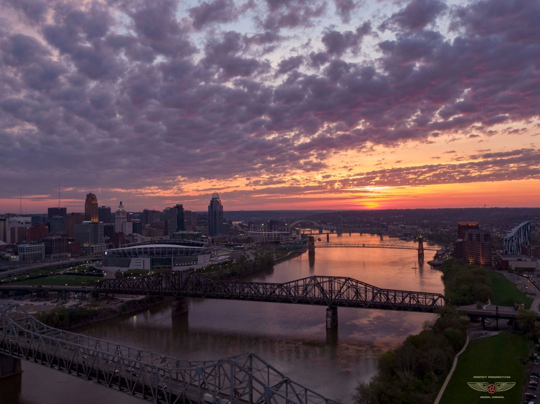 Cincinnati Drone Photography River Sunrise