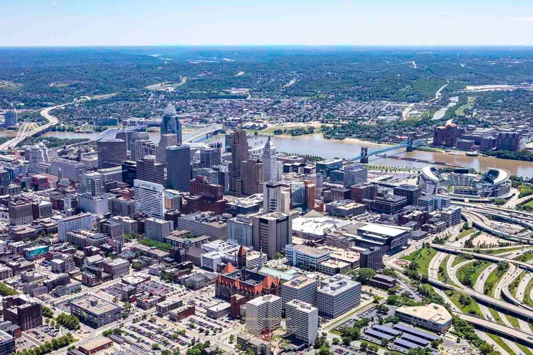 Cincinnati Aerial Photography of Downtown skyline