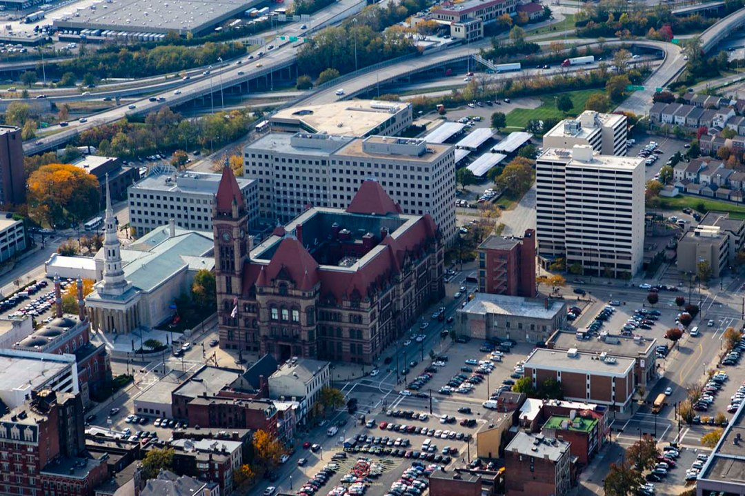 Nice Cincinnati aerial View of City Hall