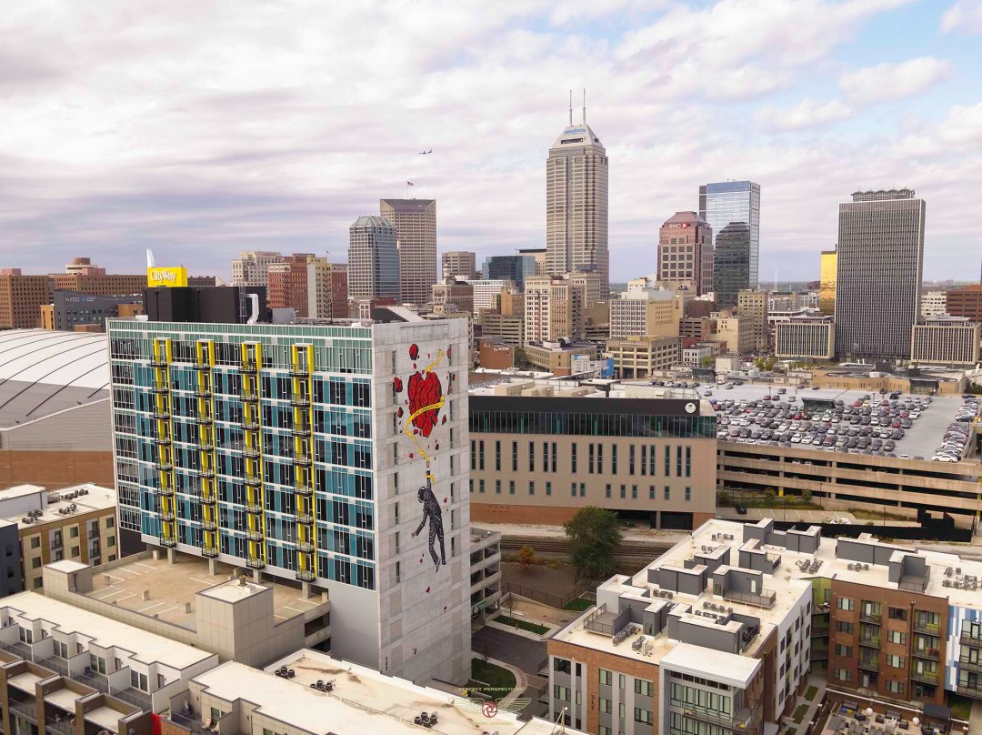 Drone Aerial Photo City Way Tower Indianapolis