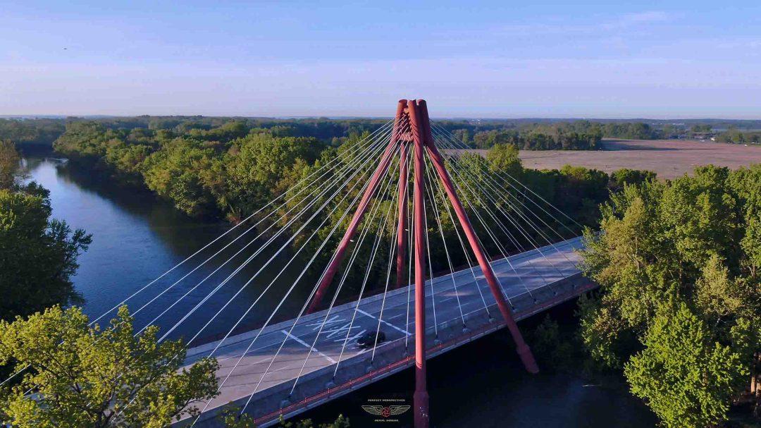 Drone Photo Columbus Indiana Bridge