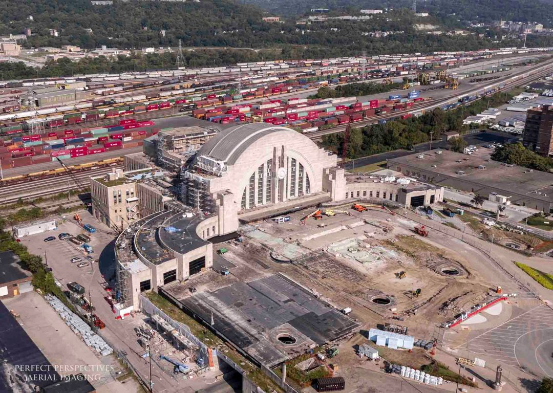 Historic Drone Aerial Photography of Cincinnati Museum Center restoration