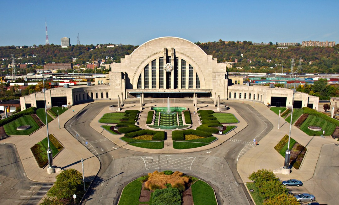 Historical Aerial Drone Photo of Cincinnati Museum Center at Union Terminal before restorations