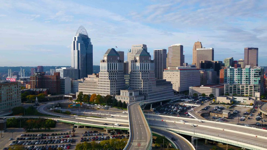 Cincinnati Drone Shot showing highway leading past P&G headquarters