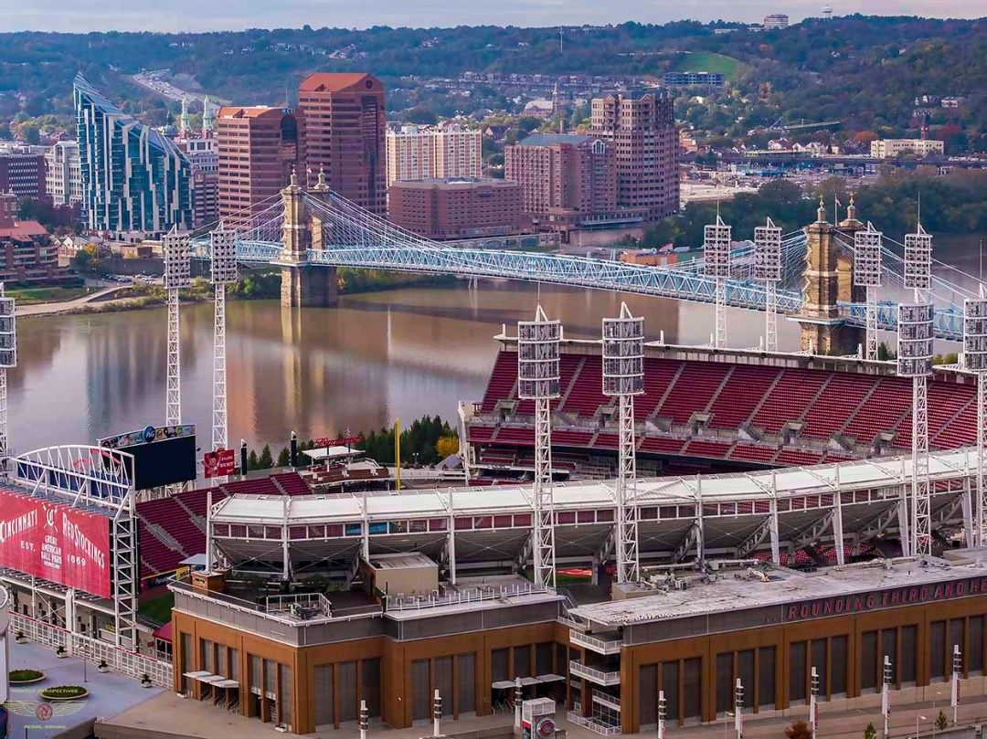 Cincinnati Aerial Image - Reds Great American Ballpark in summer