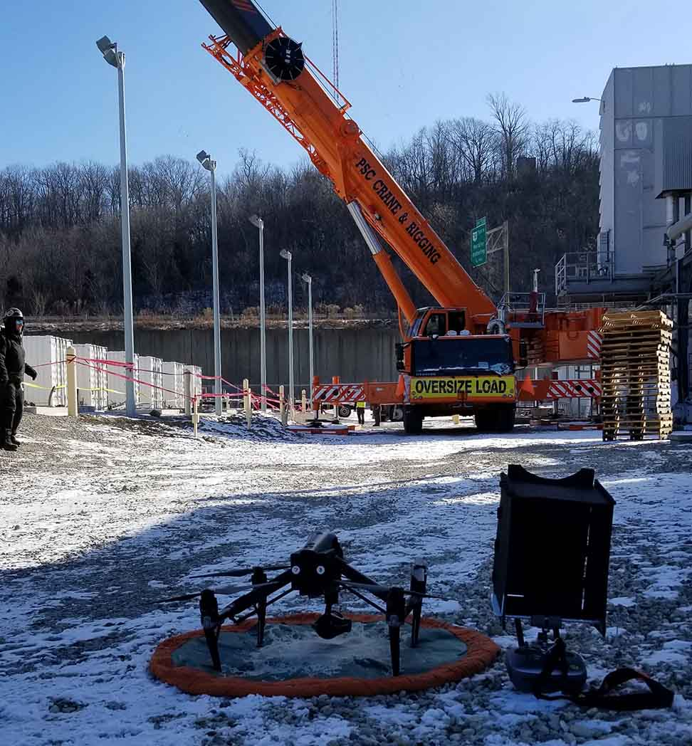 Utility Electric Construction Drone Aerial Photography