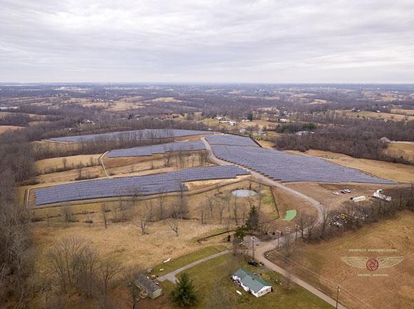 Solar Array Construction Progress Drone Aerial Photo in Kentucky