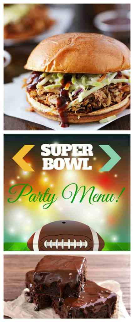 This easy super bowl party menu is your ticket to a great game day, with delicious, easy to prepare food, that will cover appetizers, salad, a main dish and dessert.