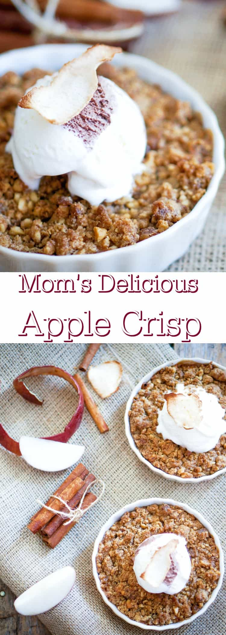 I think the secret to a great apple crisp is the apples and how you prepare them and also the crunchy sweet topping that is full of butter, brown sugar and other earthly delights!