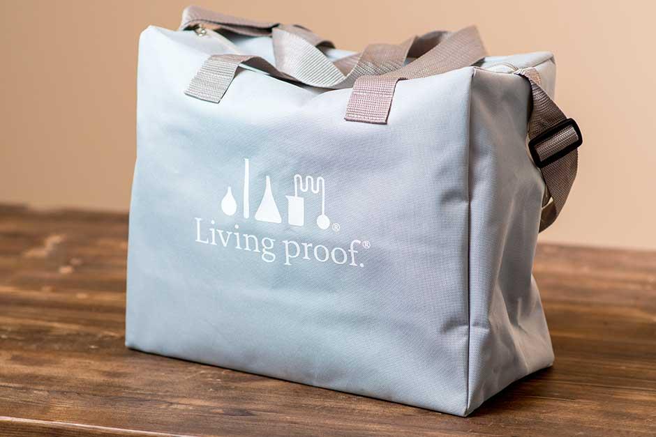 living proof printed bag promo