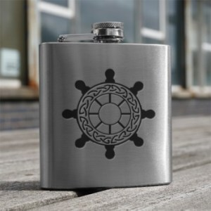 art pewter hip flask