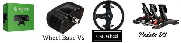 Xbox One Racing Wheel: Fanatec Wheel Base V2, CSL Steering Wheel P1, ClubSport Pedas V3