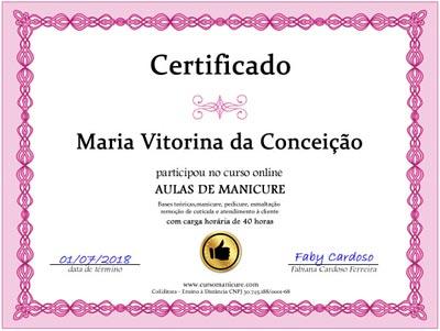 Certificado de conclusão: Curso de manicure e pedicure