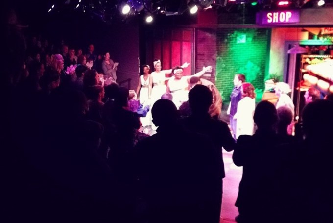 The cast receiving a standing ovation at a preview. Photo by Johnny Knight.