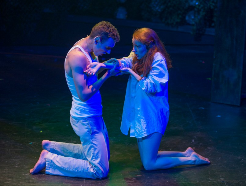 (left to right) Henry McGinniss and Tiffany Tatreau in Griffin Theatre Company's Chicago premiere of BAT BOY: THE MUSICAL. Photo by Michael Brosilow.