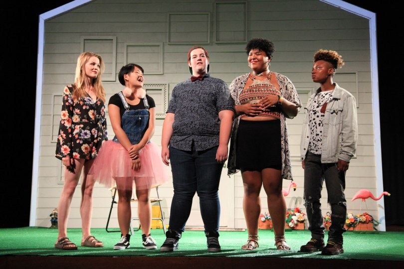 (left to right) Arleigh Truesdale, Sandy Nguyen, Elliot Horbaugh, Da Shona Johnson and Daisainee Minenger in AD HOC [HOME], written and performed by the About Face Youth Theatre Ensemble and directed by Ali Hoefnagel and Kieran Kredell. Photo by Emily Schwartz.