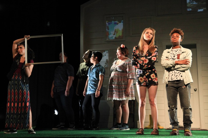 (left to right) Elena Cohen, Isis Mendoza, Elliot Horbaugh, Jimbo Pestano, Arleigh Truesdale and Daisianee Minenger in AD HOC [HOME], written and performed by the About Face Youth Theatre Ensemble and directed by Ali Hoefnagel and Kieran Kredell. Photo by Emily Schwartz.