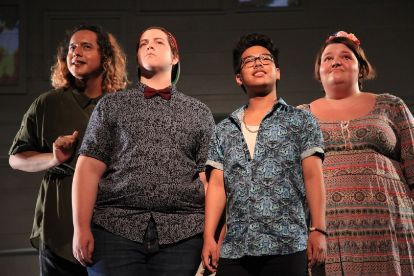 (left to right) Isis Mendoza, Elliot Horbaugh, Jimbo Pestano and Melody Derogatis in AD HOC [HOME], written and performed by the About Face Youth Theatre Ensemble and directed by Ali Hoefnagel and Kieran Kredell. Photo by Emily Schwartz.
