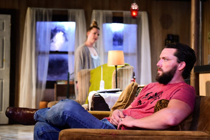 (left to right) Liz Sharpe and Evan Linder in Definition Theatre Company's and The New Colony's production of BYHALIA, MISSISSIPPI by Evan Linder, directed by Tyrone Phillips at Steppenwolf's 1700 Theatre. Photo by Evan Hanover.