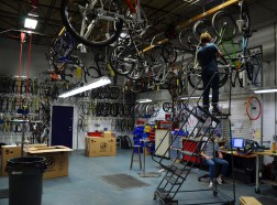 Building up sample bikes in the warehouse