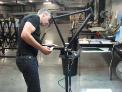 Joachim Aerts, founder and CEO of Ridley, came in on Sunday to personally prep the frame
