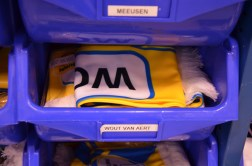 Each rider has a bin with scarves, mittens, t-shirts and more