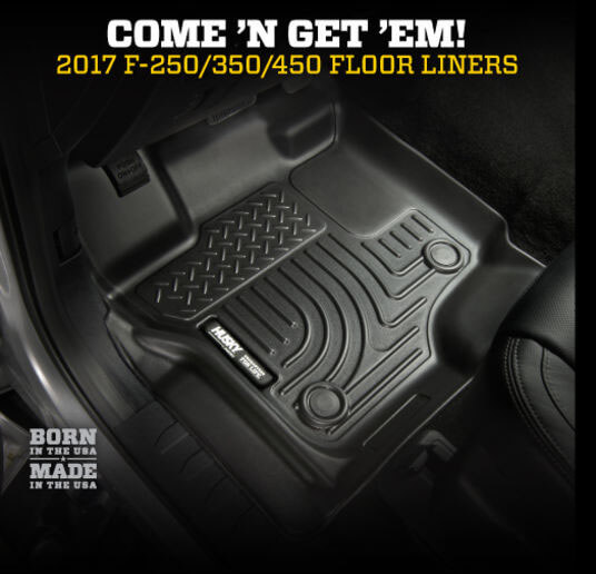 Husky Liners (13301): WeatherBeater Front Floor Liners for 2017 Ford F-250/-350/-450 Crew Cab and SuperCab