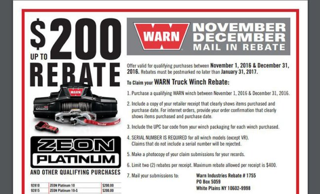 WARN Promotion: Up to $200 Back on Qualifying Winches