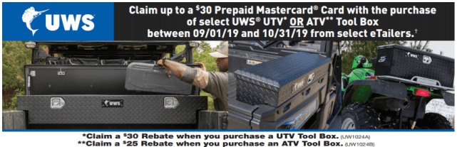 UWS: Get Up to $30 Back on UTV/ATV Toolboxes