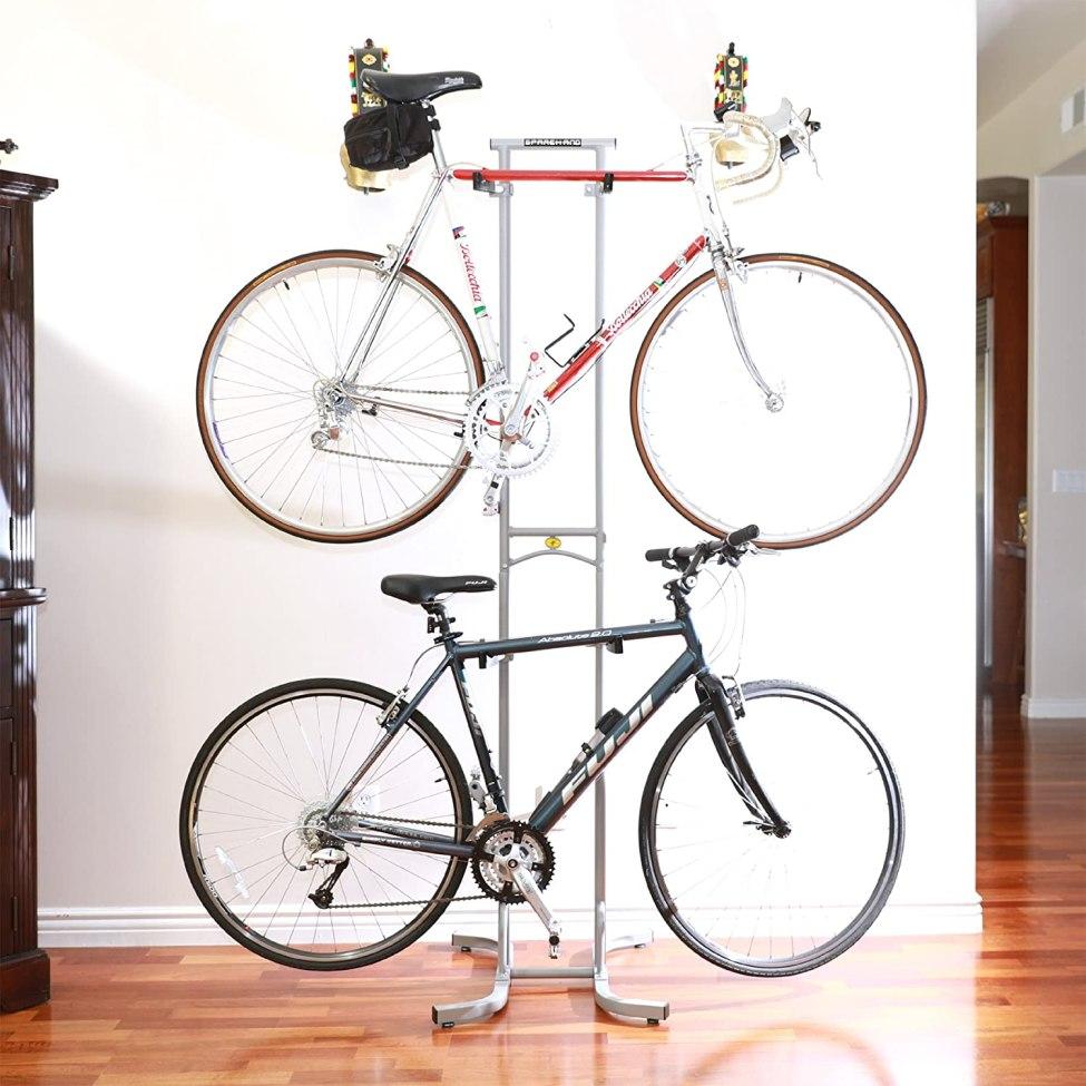 SPAREHAND DBR-825 Freestanding Adjustable Dual Bike Rack Storage System