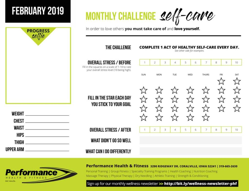 February Wellness Challenge Self Care