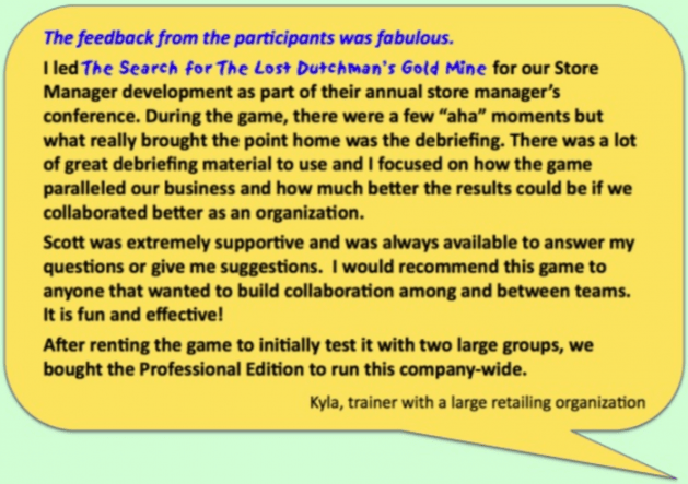 Testimonial about Lost Dutchman Team Building Exercise