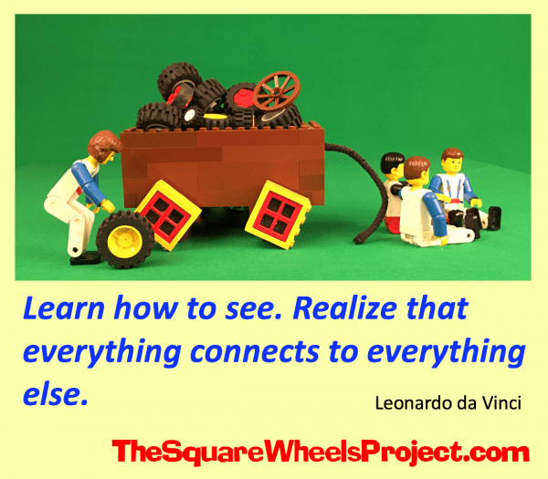 illustrated quote of Leonardo da Vinci using Square Wheels
