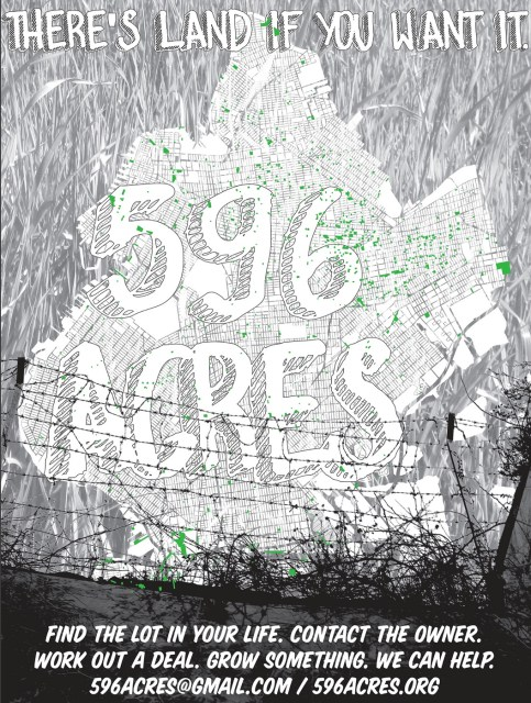 The 596 Acres posters visualise all the publicly owned vacant land in Brooklyn and encourage neighbours to organise to request access