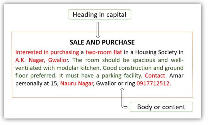 Sale and purchase advertisement format