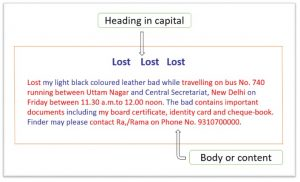 Lost and found advertisement format