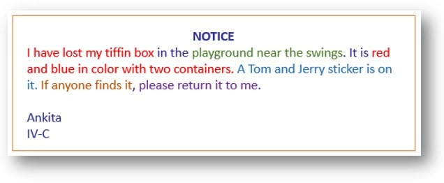 Notice Writing format For class 4 and 5 format