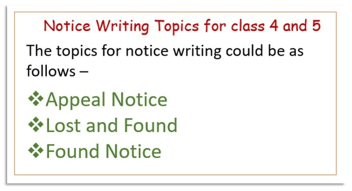 Notice writing topics for class 4 and 5