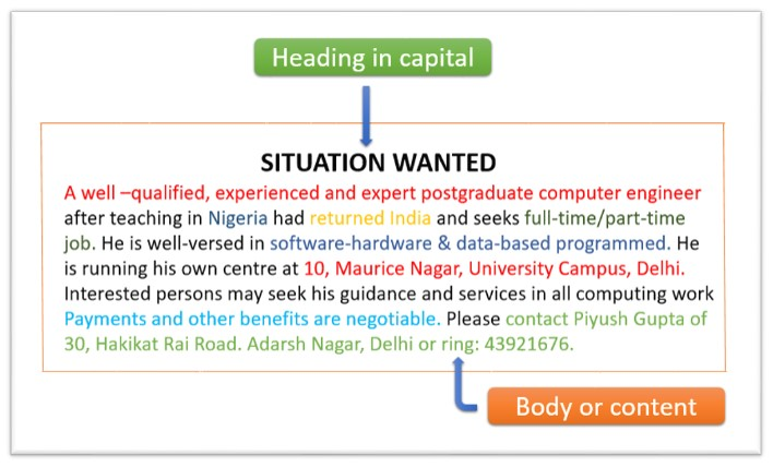Situation wanted advertisement format