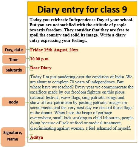 Diary entry for class 9