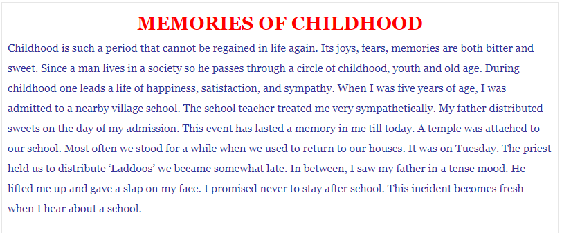 Process Writing on Memories of Childhood 150-200 Words
