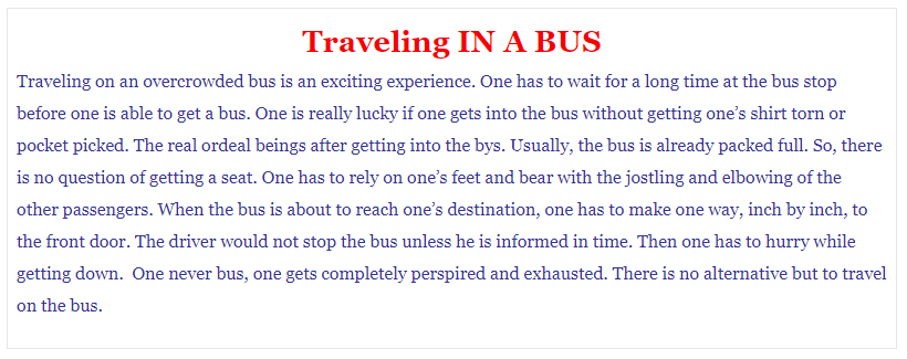 Process writing on Traveling in a bus