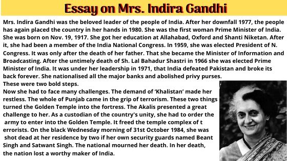 Essay on Mrs. Indira Gandhi