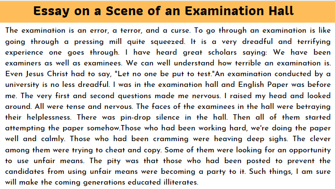 Essay on a scene of an examination hall