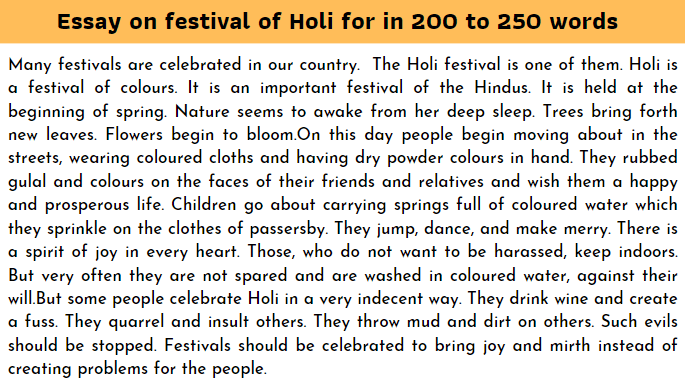 Essay on festival of Holi for in 200 to 250 word