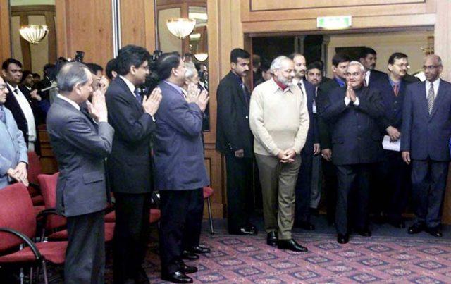 PM Shri Atal Bihari Vajpayee being greeted by representatives of the Indian Community at Kremlin. November 7, 2001